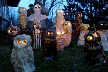 Owls at dusk